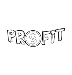 Profit word with a dollar sign icon outline style vector image