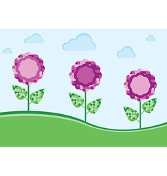 purple flowers in the meadow vector image