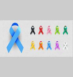 Realistic colorful awareness ribbons vector