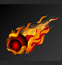 red ball with big flame on black background vector image