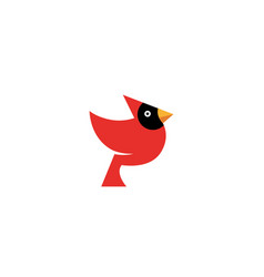 Red bird with black face and yellow beak vector