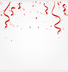Red confetti serpentine or ribbons falling on vector