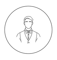 restaurant waiter with a bow tie icon in outline vector image