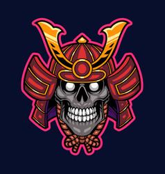 samurai skull head mascot logo vector image