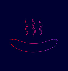 sausage simple sign line icon with vector image