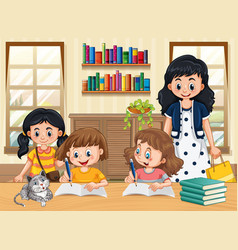 Scene with kids doing homework at home vector