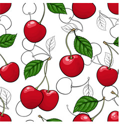 seamless pattern red cherry with black and white vector image