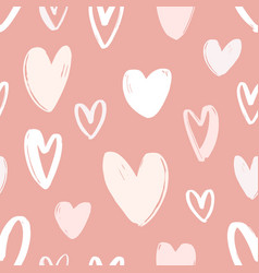 seamless pattern with hand drawn hearts on pink vector image