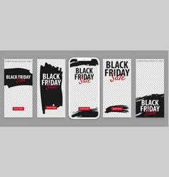 Set black friday sale stories for instagram vector
