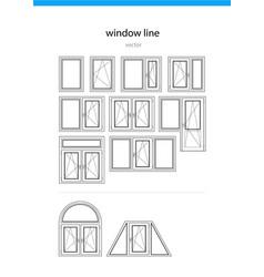 set icon window line vector image