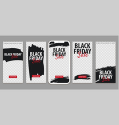 Set of black friday sale stories for instagram vector
