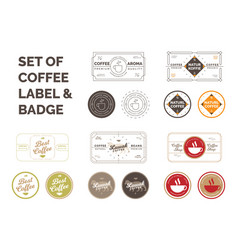 set of coffee label vector image