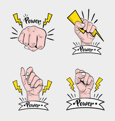 Set power hand strong protest vector