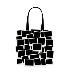 Shopping bag made from photo frames for your vector image