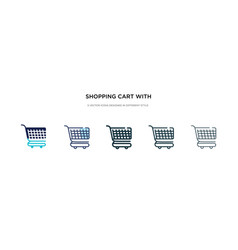 Shopping cart with grills icon in different style vector