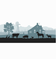 Silhouettes farm animals rural landscape vector