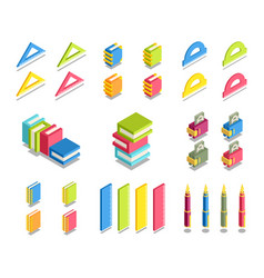 Simple set of 3d isometric icons vector
