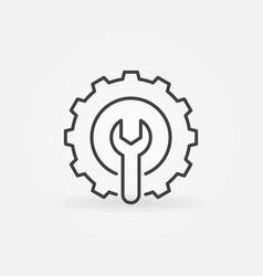 Spanner inside gear linear icon settings vector