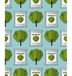 Spinach in tin seamless pattern Useful greens vector