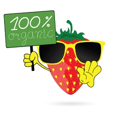 strawberry with sunglasses in colorful vector image