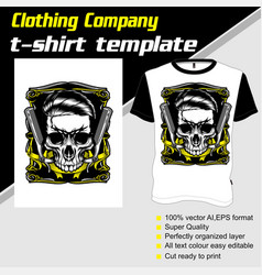T-shirt template fully editable with skull barber vector