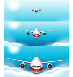 Three scenes of airplane flying in the sky vector image