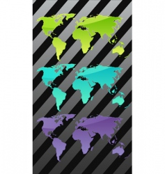 three world maps vector image