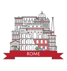 Travel rome poster in linear style vector