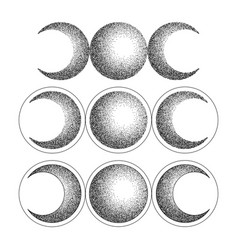 Triple moon magic and astronomy vecor tattoo vector