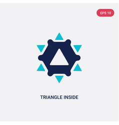 two color triangle inside hexagon icon from vector image