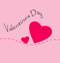 two hearts on a pink background valentines day vector image
