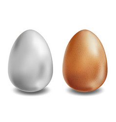 White and brown eggs on white background vector