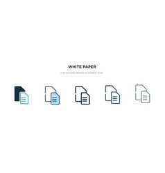 white paper icon in different style two colored vector image