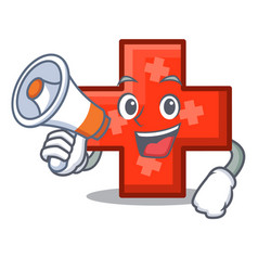 With megaphone cross character cartoon style vector