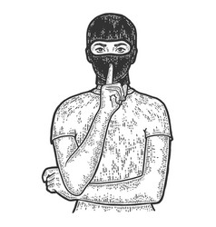 Woman in balaclava shows silence with his finger vector