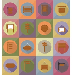 wooden board flat icons 19 vector image