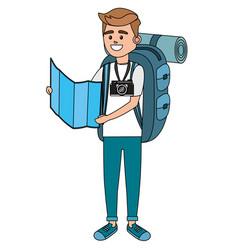 Young tourist man cartoon vector