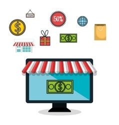 E-commerce monitor pc money isolated design vector