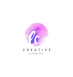 ec watercolor letter logo design with purple vector image