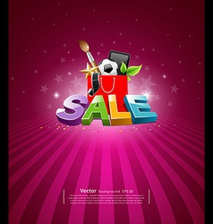 Sale message shopping bag vector image vector image