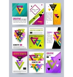Set of triangle cards Triangle pattern Triangle vector image
