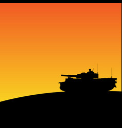 Silhouette of tank in sunset vector