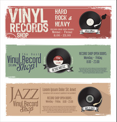 vinyl record shop retro grunge banner 1 vector image
