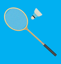badminton racket and white shuttlecock with black vector image