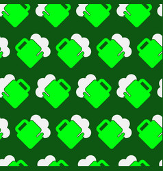 seamless pattern - green white beer with froth vector image vector image