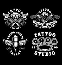 set of monochrome tattoo emblems on dark vector image vector image