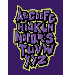 Straight lines comic graffiti font alphabet vector image vector image