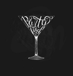 summer calligraphic lettering cocktail glass vector image