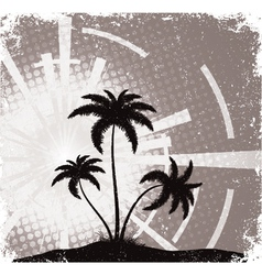 Summer grunge background with palm trees vector