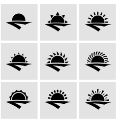 black sunrise icon set vector image vector image